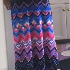 NY Collection Dresses - NY Collection Dress Long V-Neck Sleeveless Abstrac